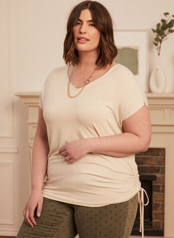 Tie Detail T-Shirt, Grey,  t-shirt, tie detail, v-neck, short sleeves, stretchy, spring summer 2020