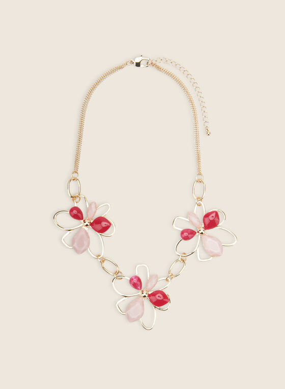 Floral Stone & Metallic Necklace, Pink
