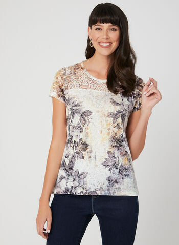 Floral Print T-Shirt, Multi, hi-res,  short sleeves, high-low, lace, crystals, burnout, spring 2019