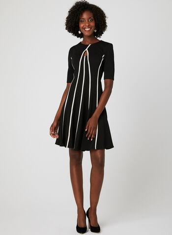 Contrast Trim Fit & Flare Dress, Black, hi-res