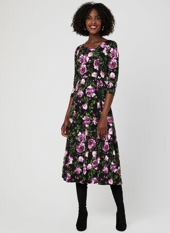 Nina Leonard – Floral Print Midi Dress, Black, hi-res