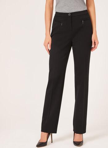 Pantalon signature coupe jambe droite, Noir,