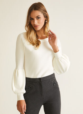Puffed Sleeve Sweater, Off White,  sweater, puffed sleeve, wool, fall winter 2020