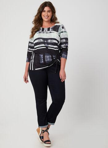 Abstract Print Top, Black, hi-res,  t-shirt, 3/4 sleeves, drawstring, abstract print, fall 2019, winter 2019