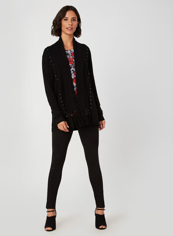 Open Front Fringe Cardigan, Black,  knit, cardigan, long sleeves, studs, fringe, fall 2019, winter 2019