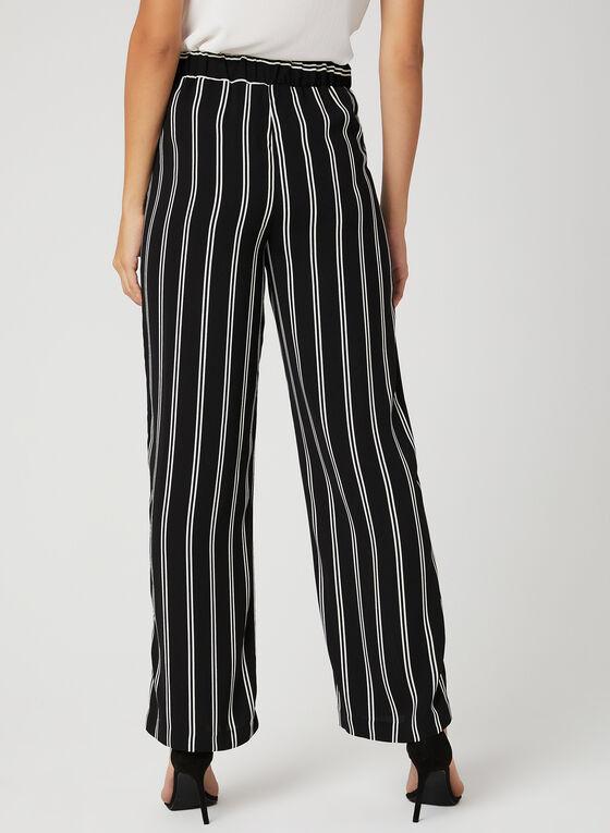 Pantalon rayé coupe moderne à jambe large, Noir