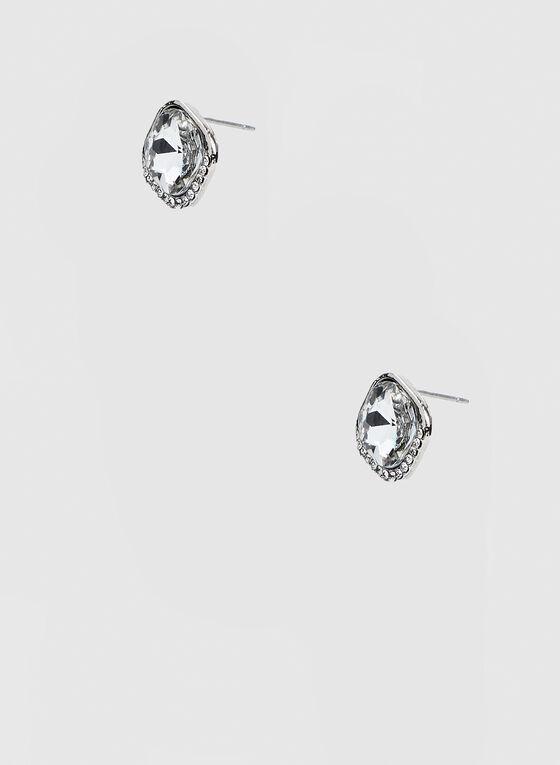 Clous d'oreilles à pierre carrée, Argent