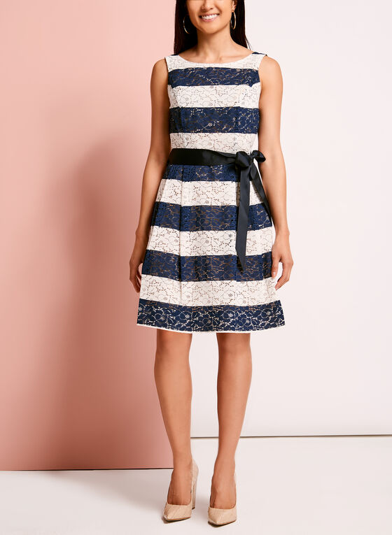 Lace Stripe Print Cotton Dress, Blue, hi-res