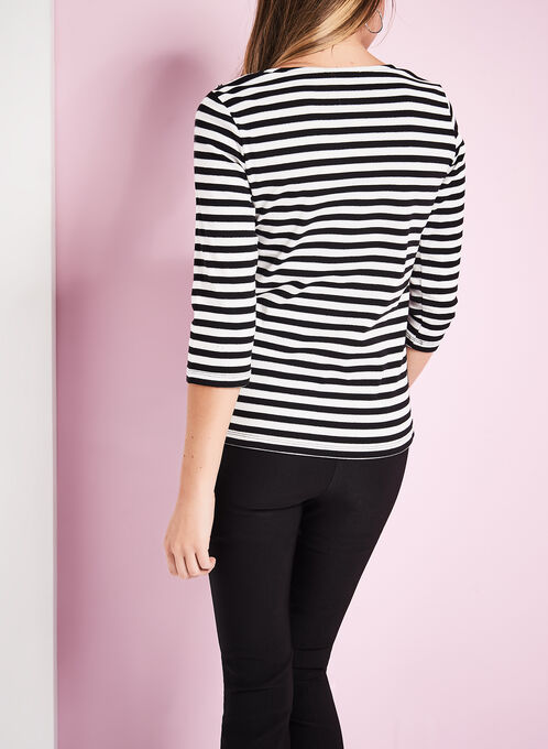 3/4 Sleeve Stripe Print Top, Black, hi-res