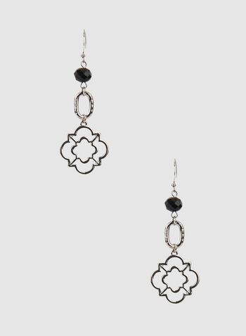 Clover Dangle Earrings, Black, hi-res,  earrings, dangle earrings, clover, bead, fall 2019, winter 2019