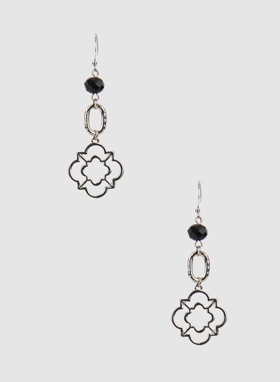 Clover Dangle Earrings, Black, hi-res