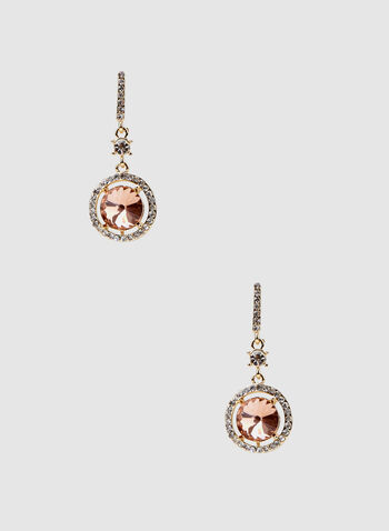 Round Crystal Dangle Earrings, Gold, hi-res