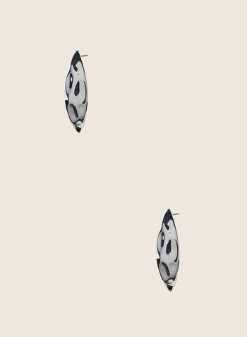 Clous d'oreilles allongés en métal, Argent,  clous d'oreilles, allongés, métal, martelé, printemps été 2020