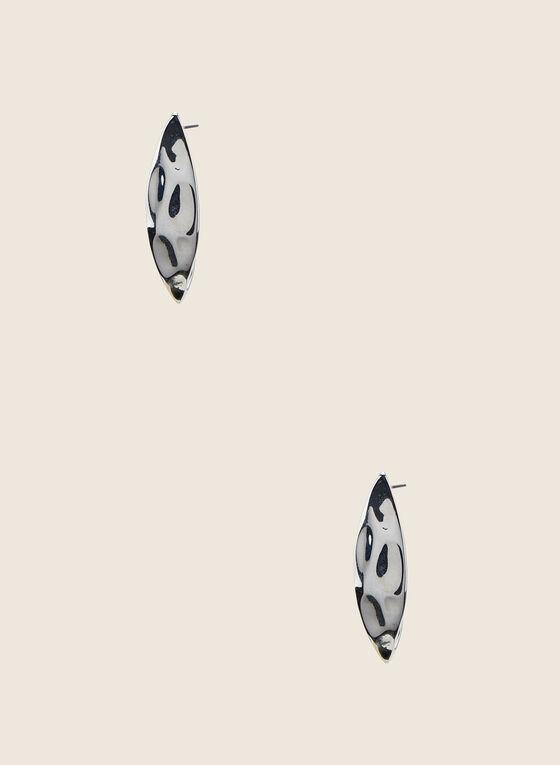 Textured Metallic Stud Earrings, Silver