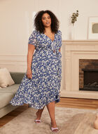Floral Print Ruffle Dress, Blue