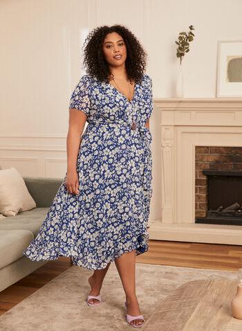 Floral Print Ruffle Dress, Blue,  spring summer 2021, dress, day dress, floral, daisy, chiffon, short sleeve, ruffle, detail, V neck, sash, tulip hem, high-low, light, comfort