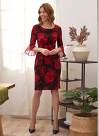 Floral Print Draped Cocktail Dress, Red