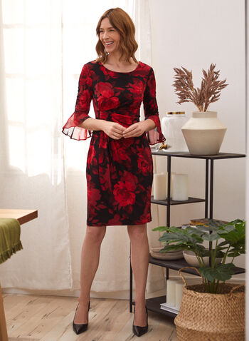 Floral Print Draped Cocktail Dress, Red,  fall winter 2020, floral print, draped, drape effect, cocktail, dress, scoop neck, bell sleeve, 3/4 sleeve, chiffon, ruffle, wrap, comfort, stretch