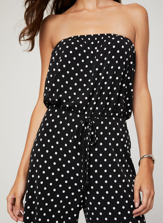 Polka Dot Print Jumpsuit, Black, hi-res