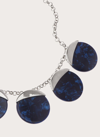 Marble Stone Chain Necklace , Blue, hi-res