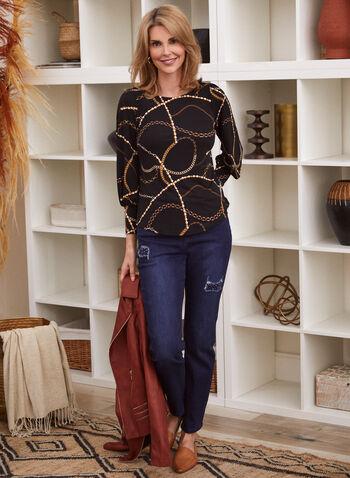 Chain Print Puffed Sleeve Top, Black,  fall winter 2020, top, blouse, 3/4 sleeves, puffed sleeves, chain print, made in canada