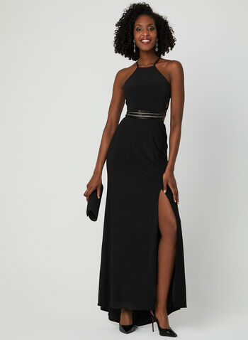 Halter Neck Dress, Black, hi-res