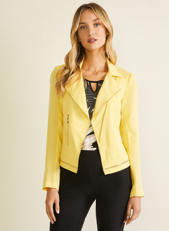 Vex - Zipper Detail Linen-Like Blazer, Yellow,  blazer, notch collar, linen, zipper, long sleeves, spring summer 2020
