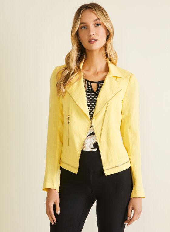 Vex - Blazer aspect lin et détails zippés, Jaune