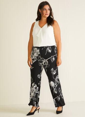 Pantalon fleuri à jambe large, Noir,  pantalon, pull-on, jambe large, fleurs, moderne, printemps été 2020