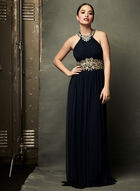 Beaded Embroidery Empire Waist Dress, Blue, hi-res