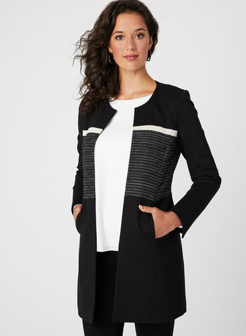 Long Open Front Jacket, Black, hi-res