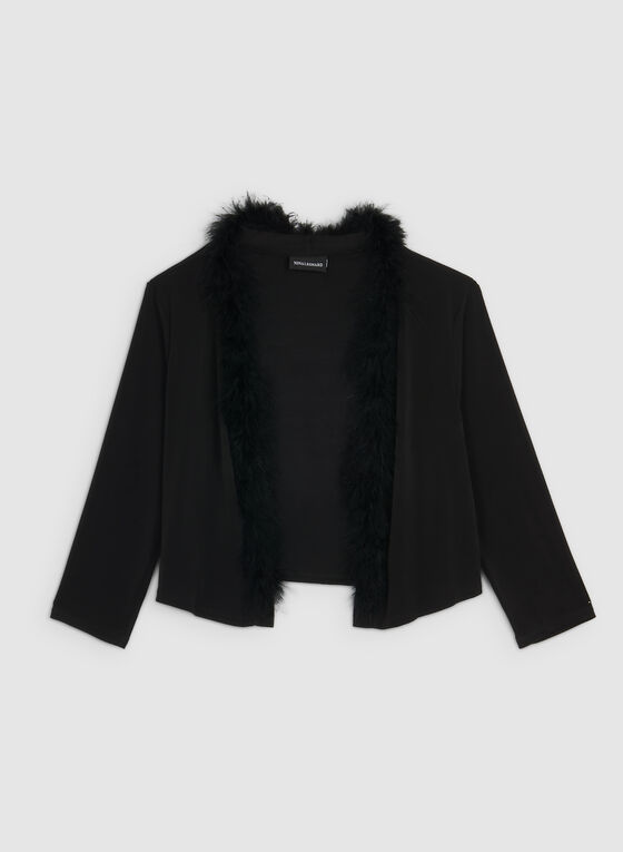Nina Leonard - Feather Trim Bolero, Black