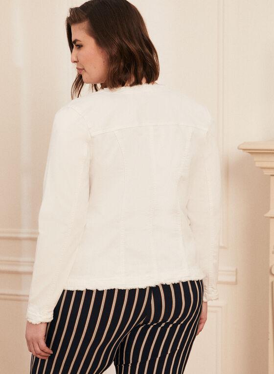 Frayed Hem Denim Jacket, Off White