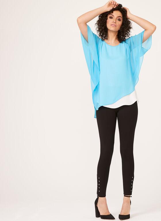 Alison Sheri - Blouse poncho en mousseline étagée, Bleu, hi-res