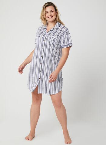 Claudel Lingerie - Chemise de nuit boutonnée, Blanc, hi-res