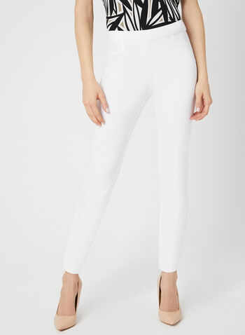 City Fit Slim Leg Pants, Off White, hi-res,  pull-on, ankle length, cotton, mid rise, lace-up detail