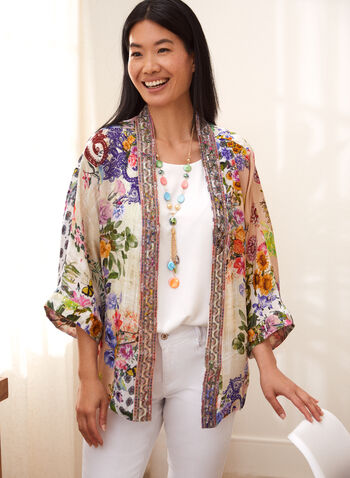 Charlie B - Floral Kimono Cover Up, Multi,  spring summer 2021, Charlie B, cover up, duster, jacket, cardigan, open front, kimono, 3/4 sleeve, embroidered, floral print, light, crepe, detail, colour