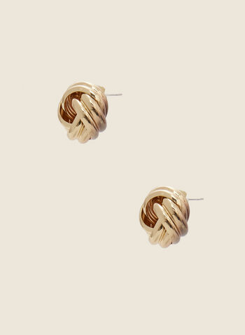 Knotted Stud Earrings, Gold,  earrings, stud, knotted, metal, fall winter 2020