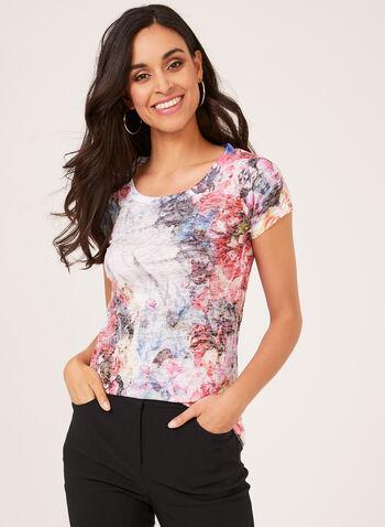 Vex - T-shirt fleuri à manches courtes et détails strass, Orange, hi-res