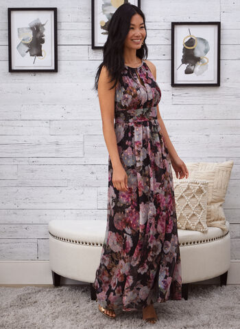 Floral Print Fit & Flare Dress, Black,  fall 2021, dress, evening dress, long dress, occasion dress, halter neckline, keyhole, detail, pleated, pleats, fit and flare, fitted, flared, flowy, light, chiffon, fabric, flowers, floral, romantic, sleeveless