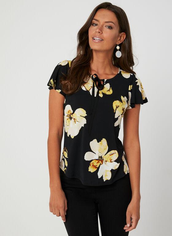 Floral Print Flutter Sleeve Top, Black