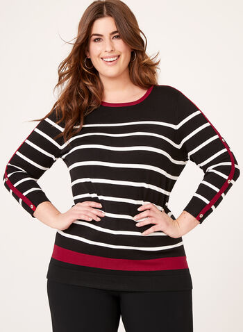 Crew Neck Stripe Print Sweater, Black, hi-res