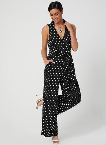 Nina Leonard - Polka Dot Print Jumpsuit, Black, hi-res,  jersey, shirt collar, belted, sleeveless, wide leg, spring 2019