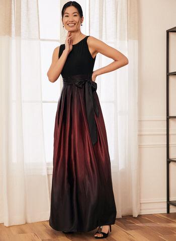 Ombré Satin Evening Dress, Black,  dress, evening, round neck, v-back, sleeveless, jersey, satin, ombre, belt, a-line, crinoline, spring summer 2021