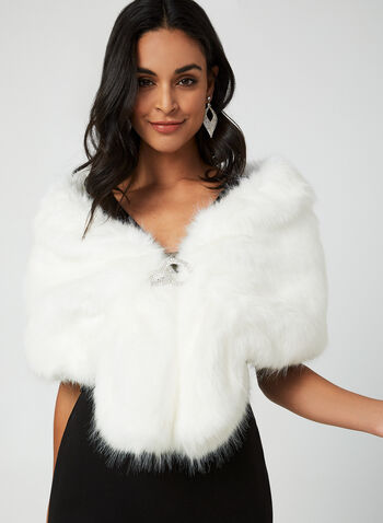 Faux Fur Stole, Off White,  fall winter 2019, cape, evening wear, faux fur