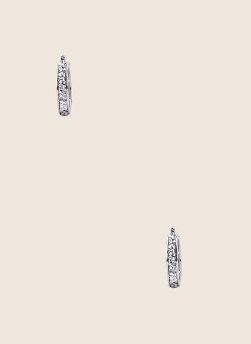 Crystal Embellished Hoop Earrings, Silver