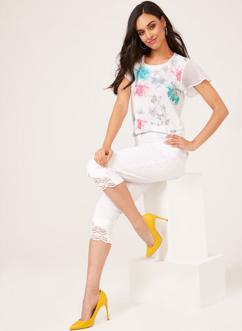 Chiffon Sleeve T-Shirt, White, hi-res