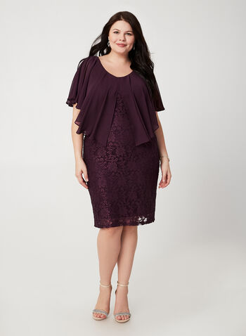 Lace Poncho Dress, Purple, hi-res,  fall winter 2019, poncho, lace, sheath dress