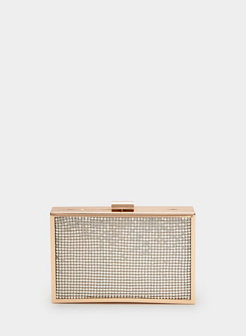 Metallic Box Clutch , Gold, hi-res