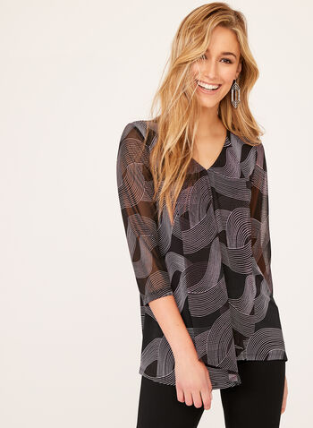 ¾ Geometric Print Sleeve Top , Black, hi-res